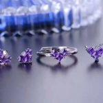 LANZYO 925 sterling <b>silver</b> Amethyst Jewelry Sets Fine Jewelry Ring Necklace Pendant <b>Earring</b> Women Bridal Sweet love tz0303agz