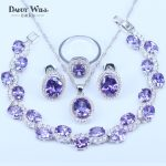925 <b>Silver</b> Color Jewelry Sets For Love Women Purple Cubic Zircon Fashion Jewelry <b>Bracelets</b> Pendants Hoop Earrings rings Sets
