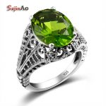 Szjinao Vintage Wedding Rings for Women <b>Handmade</b> Fun Gifts Peridot Green Ring Cool Pure 925 Sterling Silver <b>Jewelry</b> Wholesale