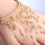 Dazz Long Pendant Tassel Bracelets Full Rhinestones Copper Hand Accessories <b>Wedding</b> <b>Jewelry</b> For Women Bridals Lovers Gifts