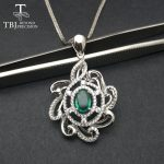 TBJ,0.8ct natural emerald luxury pendant <b>necklace</b> in 925 sterling <b>silver</b> gemstone fine jewelry for women as best gift with box