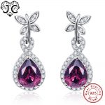 J.C Gorgeous Spessartine Garnet & White Topaz Water Droped Solid 925 <b>Sterling</b> <b>Silver</b> Earrings Fine <b>Jewelry</b> Earrings for Women