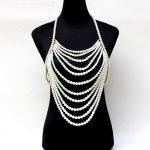 Exaggerated multi layer pearl chain tassel beaded harness necklace halter women sexy <b>wedding</b> bridal body <b>jewelry</b>