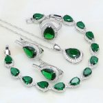 925 Silver Bridal <b>Jewelry</b> Green Rhinestone White CZ Costume <b>Jewelry</b> Sets For Women Stud Earrings/Pendant/<b>Necklace</b>/Bracelet/Ring