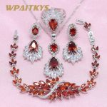 3 Colors Red Blue Green Crystal 925 Silver <b>Jewelry</b> Sets Earring For Women Pendant Necklace Ring Bracelet Free Gift Box