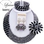 Laanc <b>Silver</b> Black Nigerian Beads Jewelry Set African Jewelry Necklace and Earrings Wedding Jewelry Sets 5CJZK021