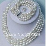 Wholesale price -hot a4 Rows 7-8mm akoya white pearl <b>Bracelet</b> Necklace earring sets new