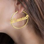 Birdesmaid Gift Personalized Nameplate Name Hoop Circle Earrings Women Gold Steel Earring Oorbellen Voor Vrouwen Custom <b>Jewelry</b>