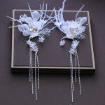 <b>Handmade</b> White Yarn Flower Long Drop Earring Fashion Rhinestone Hook Earrings <b>Jewelry</b> Women Ear Clips Wedding Party Ornaments