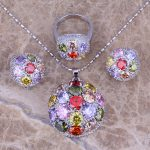 Multigem Multicolor Silver <b>Jewelry</b> Sets Earrings Pendant Ring For Women Size 6 / 7 / 8 / 9 / 10 / 11 / 12 S0025A