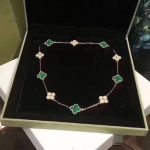 Brand Pure 925 Sterling <b>Silver</b> Jewelry Set For Women Gold Color Wedding Jewelry Green Clover Leaf Necklace Earrings <b>Bracelet</b> Set