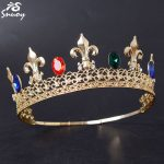 Snuoy King Crown Red/Blue/Green Glass Adjustable Tiara and Crown For Men Gold Full Round Diadem Men's Hair Accessories <b>Jewelry</b>