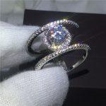 <b>Handmade</b> H <b>Jewelry</b> Anniversary wedding band ring for women 5A zircon crystal bijoux 925 Sterling silver Bridal rings Gift