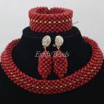 2016 <b>Handmade</b> African Beads <b>Jewelry</b> Sets Nigeria Wedding Red Coral Beads <b>Jewelry</b> Sets Bridal <b>Jewelry</b> Sets Free Shipping CJ445