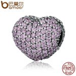 BAMOER 925 Sterling Silver Pave Open My Heart, Pink Clear Cubic Zirconia CZ Clip Charms Fit Bracelet DIY <b>Jewelry</b> <b>Making</b> PSC065