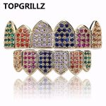 TOPGRILLZ Gold/<b>Silver</b> Color Grillz Multi-Color Micro Pave CZ Bling Cubic Zirconia Top & Bottom Teeth Grillzs Hip Hop Grills