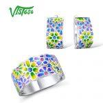 VISTOSO <b>Jewelry</b> Set HANDMADE Colorful Enamel White CZ Stones Flower Ring Earrings 925 <b>Sterling</b> <b>Silver</b> Women Fashion <b>Jewelry</b> Set