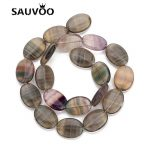 SAUVOO 1 strand/lot 15X20mm Natural Stone Beads Flat Oval Rose Quartzs Beads Loose Spacer Beads for DIY <b>Jewelry</b> <b>Making</b> Findings