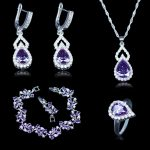 AAA+ Quality Purple Crystal White Zircon Jewelry Set 925 Stamp <b>Silver</b> Color Women Earring Ring Necklace Pendant <b>Bracelet</b> Present