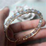 Natural Moonstone <b>Handmade</b> Bracelets 14 Gold Wrap Filled Customize Bangles Unique Gift Vintage <b>Jewelry</b> Bracelet for Women