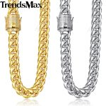 Trendsmax Miami Curb Mens <b>Necklace</b> Chain 316L Stainless Steel Iced Out Cubic Zirconia CZ Gold <b>Silver</b> Color 12/14mm 30inch KHNM21