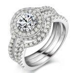 Fashion <b>Jewelry</b> New Design <b>Handmade</b> 6mm Cz 5A Zircon stone 10KT White Gold Filled 3 Engagement Wedding Band Ring Set Sz 5-11