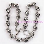 Hiphop Style Handsome Mens Boys Chain <b>Silver</b> Tone 316L Stainless Steel Skull Toggle Link <b>Necklace</b> Gift Jewelry 61CM(24inch)*14mm