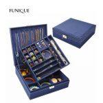 FUNIQUE <b>Fashion</b> Flannel Square <b>Jewelry</b> Box Simple Layout 2 Layers Makeup Organizer <b>Jewelry</b> Ring Necklace Storage Box Hot Sale