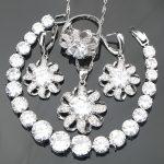 4PCS Nickle Free Wedding Jewelry Sets <b>Silver</b> 925 Wholesale White Stones <b>Bracelets</b>/Earrings/Pendant/Necklace/Rings For Women