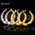 <b>Fashion</b> Big Bamboo Earrings Yellow Gold Color For Women Chic Statement <b>Jewelry</b> Grain Basket Ball Wives Hoop Earrings E664
