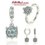 Sterling <b>Silver</b> Jewelry Sea Turtle women Jewelry Settings Pave Authentic Australian Crystal Animal Fashion Jewelry Brand GW SET1