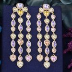 GODKI 79mm Luxury Trendy Geometry Heart Design Full Mirco Paved Cubic Zirconia <b>Wedding</b> Drop Earring Fashion <b>Jewelry</b>
