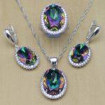 Mystic Rainbow Fire Zircon <b>Jewelry</b> Set Women 925 Sterling Silver <b>Jewelry</b> Wedding Earrings/Pendant/Necklace/Rings T233