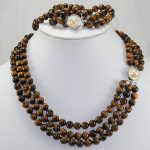 FREE SHIPPING>>>@@ Natural 3 rows 8mm Africa Roaring Tiger Eye Necklace, <b>Bracelet</b> 17-19″/7.5″