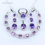 L&B Purple simulated Garnet <b>Bracelet</b> Jewelry Sets <b>silver</b> color Necklace/Pendant/Earrings/Ring 925 logo jewelry for women