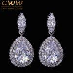 CWWZircons Brand High Quality AAA+ Cubic Zirconia Crystal Large Drop Earrings For Women <b>Fashion</b> Wedding Party <b>Jewelry</b> CZ071