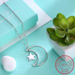 INALIS Chic Long Moon Star Pendant <b>Necklace</b> 925 Sterling <b>Silver</b> Sweater Chains <b>Necklace</b> Brand Jewelry for Girls Women