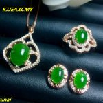 KJJEAXCMY boutique jewels 925 pure <b>silver</b> inlaid with natural jasper female pendant ring <b>earrings</b> 3 pieces of jewelry gift neckl