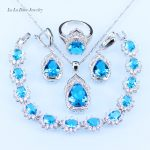 L&B <b>silver</b> 925 <b>Bracelet</b> Sky Blue Austrian Crystal Jewelry Sets Women Wedding zircon Hoop Earrings Pendant Necklace Ring
