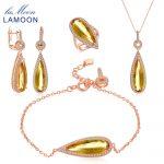 LAMOON Luxury 925-<b>Sterling</b>–<b>Silver</b> 4PCS <b>Jewelry</b> Sets Natural Big Citrine S925 Fine Jewellery for Women Wedding Gift V047-1