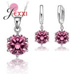 JEXXI Woman 925 Sterling <b>Silver</b> 8MM <b>Jewelry</b> Sets Cubic Zircon Crystal Lever Back Earrings Pendant Necklace Nice Gifts 8MM Stone