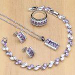 925 Silver Bridal <b>Jewelry</b> Sets Purple CZ White Zircon Kits For Women Wedding Earrings/Pendant/Ring/Bracelet/<b>Necklace</b> Set