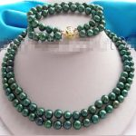 Women's Wedding 2r Natural Green 9mm Pearl Necklace Bracelet A Set ! silver-<b>jewelry</b> brincos real silver-<b>jewelry</b>