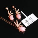 925 <b>silver</b> gemstone <b>earrings</b> pendant necklace fine jewelry set for women hot sale MEDBOO fashion natural pink opal jewellery
