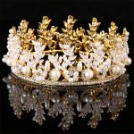 <b>Handmade</b> Crystal <b>Jewelry</b> Exquisite Silver Plated Golden Tiara Circle Crown Women Hair Accessories Bride Princess Headwear