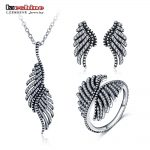 LZESHINE 2017 Mother's Day Gift Jewelry Set 925 Sterling <b>Silver</b> with CZ Stone Feather Shape Pendant/<b>Earrings</b> Rings Set PSST0003