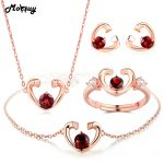MoBuy Garnet Natural Gemstone 4pcs Jewelry Sets 100% 925 Sterling <b>Silver</b> For Women Wedding Love Heart Fine Jewelry V015EHNR
