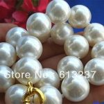 Charming white shell round simulated-pearl classical 14mm beads unique necklace for women chain <b>jewelry</b> <b>making</b> 18 inch MY2011