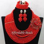 Red Nigerian Beads Set Marvelous Bridal <b>Jewelry</b> Sets <b>Handmade</b> Item Large Stock Wholesale ABW179