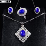 ZHHIRY Natural Gem Jewelry Set Genuine Solid 925 Sterling <b>Silver</b> Sets Deep Blue Stone Women